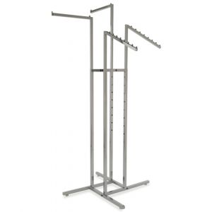 Chrome 4-Way Garment Rack with Square Tubing, 2 Straight Arms, 2 Slanted Arms with 8 Waterfall Balls.