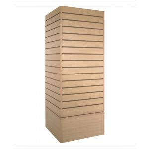 Slatwall Cubic Tower, Four-Way Cube Slatwall Tower, Durable Maple Finish