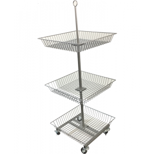 3-TIER SQUARE WIRE BASKET RACK