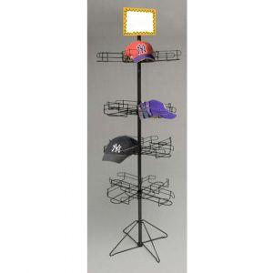 4 Tier Floor Wire Cap Display