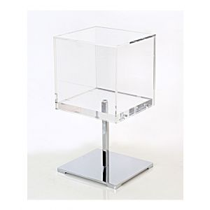 SQUARE COUNTERTOP JEWELRY DISPLAY  W/ CHROME BASE